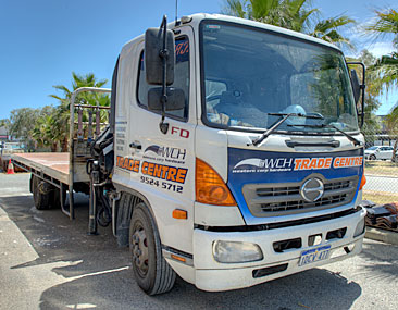 6 Tonne Truck with HIAB Crane available for delivery of building supplies from Western Corp Hardware Port Kennedy.